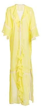 Jonathan Simkhai Women's Gingham Ruffle Long Robe