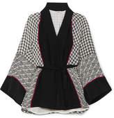Talitha Printed Silk Crepe De Chine Robe - Black