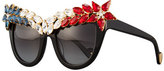 Anna-Karin Karlsson Decadence All American Swarovski®; Cat-Eye Sunglasses, Red/White/Blue