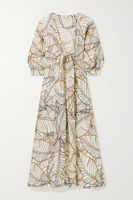 Nicholas Asilah Tie-front Printed Linen Midi Dress - Ivory