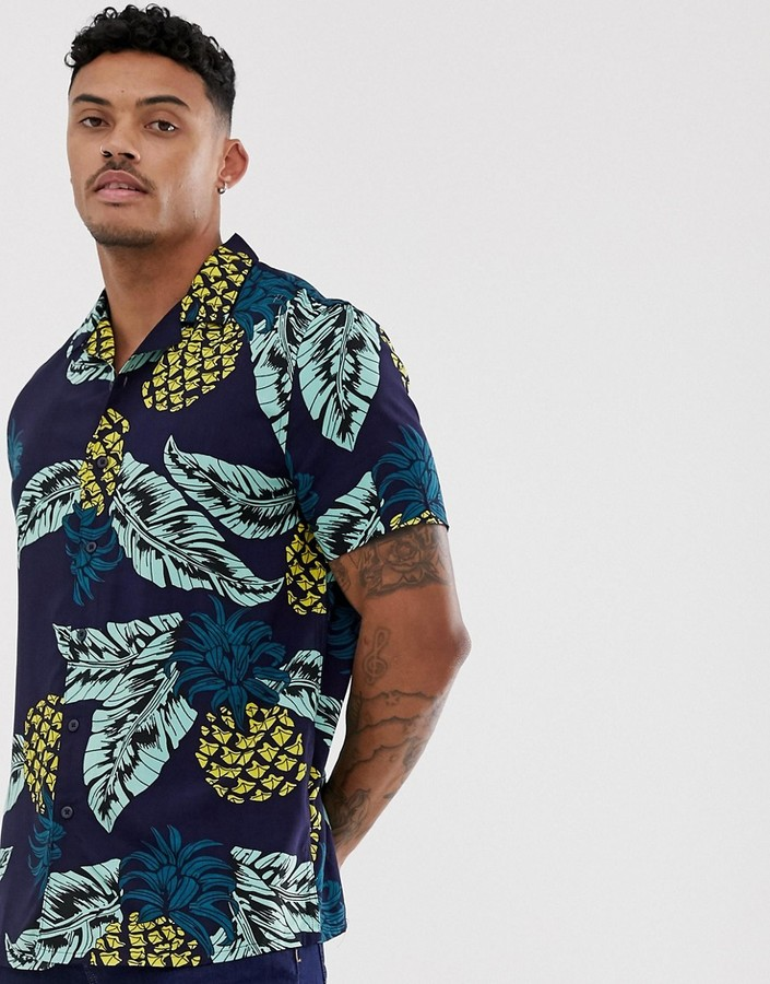 New Look revere collar shirt in pineapple print-Blue
