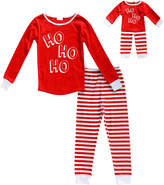 Dollie & Me Red & White 'Ho Ho Ho' Pajama Set & Doll Outfit - Toddler & Girls