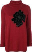 D-Exterior D.Exterior floral appliqué roll neck sweater