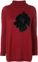 D-Exterior D.Exterior floral appliqué roll neck sweater