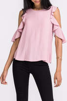 Lush Ruffle Cold-Shoulder Top