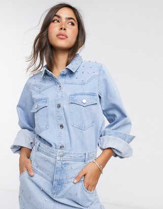 Neon Rose western shirt with embellishment in denim co-ord