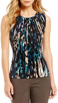 Calvin Klein Petites Abstract Print Matte Jersey Pleat Neck Shell
