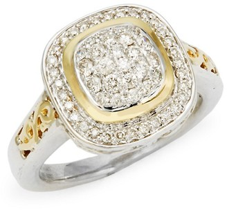Charles Krypell Ivy Sterling Silver, 18K Yellow Gold Diamond Ring