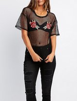 Charlotte Russe Rose Embroidered Fishnet Tee