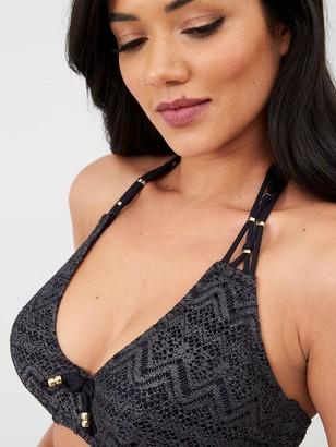 Dorina Corfu Curves Crochet Non Padded Plunge Bikini Top - Black
