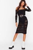 Nasty Gal Womens Stop Stripe Now Mesh Midi Dress - black - 6