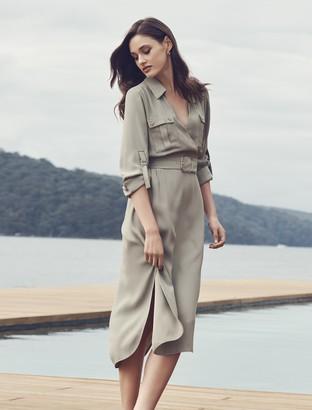 Forever New Imogen Safari Shirt Dress - Gentle Khaki - 4