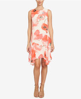 CeCe Poppy-Print Handkerchief-Hem Shift Dress