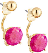Lydell NYC Crackled Crystal Jacket Earrings, Dark Pink