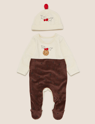 Marks and Spencer 2 Piece Cotton Pudding Sleepsuit Outfit (0-18 Mths)