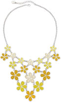 Liz Claiborne Yellow Stone Silver-Tone Bib Necklace