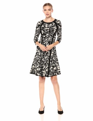 Taylor Dresses Women's Printed Elbow Sleeve Sweater Dress
