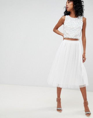 Lace & Beads tulle midi skirt in white