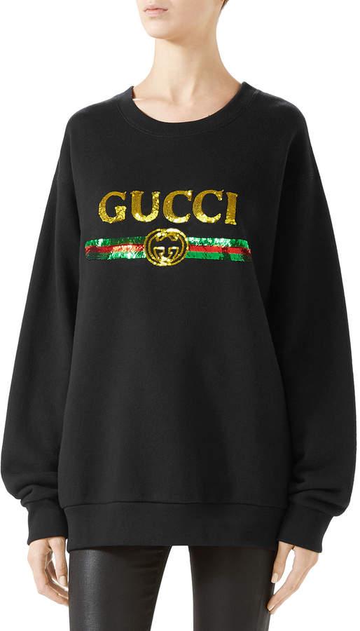f99167f3 Black Sequin Sweatshirt - ShopStyle