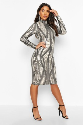 boohoo Mesh Sequin High Neck Long Sleeve Midi Dress