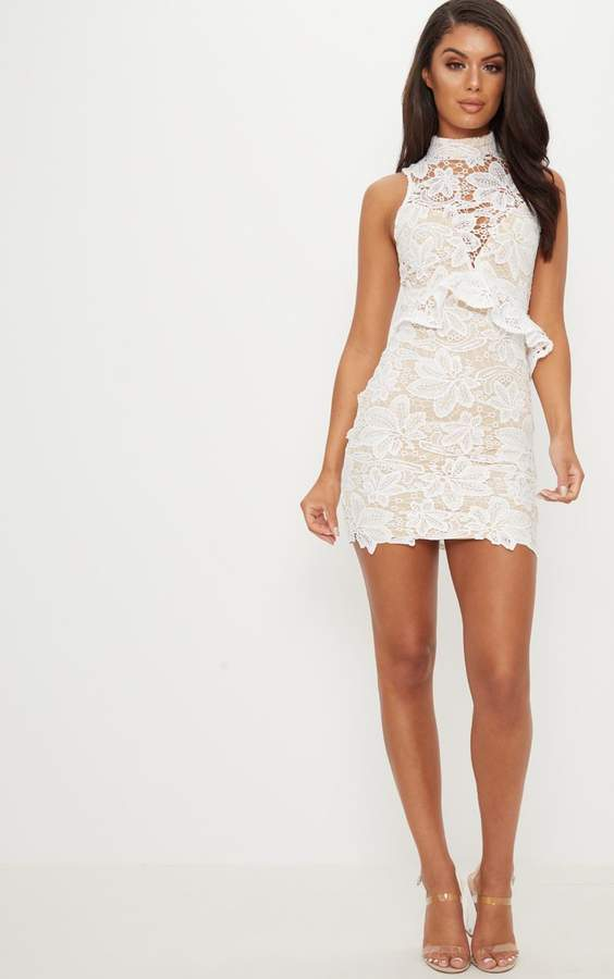 PrettyLittleThing White Lace High Neck Frill Detail Bodycon Dress
