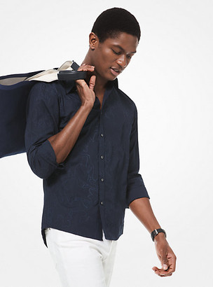Michael Kors Slim-Fit Embroidered Cotton Shirt