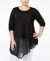 Alfani Plus Size Asymmetric Mixed-Media Tunic, Only at Macy's