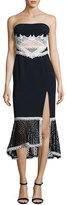 Jonathan Simkhai Windowpane-Lace Strapless Midi Dress