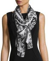Neiman Marcus Aztec-Print Wrap Scarf, Black/White