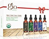 Gio Naturals Organic Carrier Oil Gift Set, Castor, Jojoba, Tamanu, and Argan Oil, For Hair, Face, Skin, Body and Nails, Blend Bottle Included