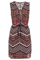 Quiz Red And Black Zig Zag Print Zip Front Tunic Dress