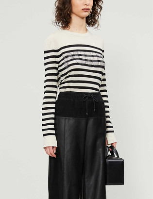 Zadig & Voltaire Slogan-print striped cashmere knitted jumper