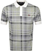 Fred Perry Jacquard Check Polo T Shirt White