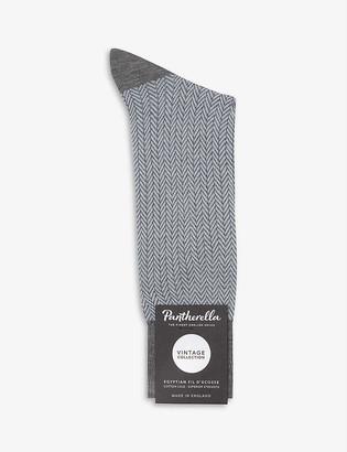 Pantherella Fabian herringbone cotton-blend socks