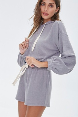 Forever 21 Heathered Hoodie Shorts Set