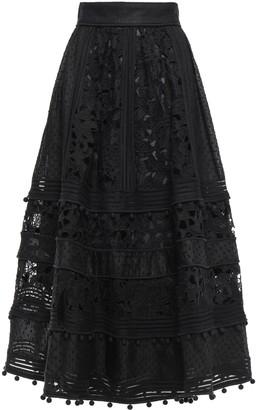 Zimmermann Paneled Cotton And Silk-blend Guipure Lace And Swiss-dot Organza Midi Skirt