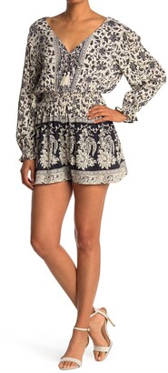Angie Long Sleeve Lace Up Romper