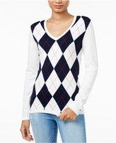 Tommy Hilfiger Ivy V-Neck Argyle Sweater, Only at Macy's