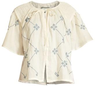 Innika Choo Oliver Daily Print Short-Sleeve Linen Top