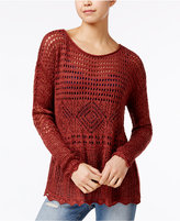 American Rag Scalloped-Trim Open-Stitch Sweater, Created for Macy's