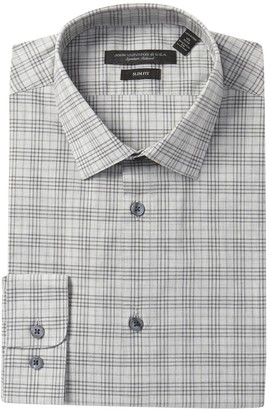 John Varvatos Plaid Slim Fit Stretch Dress Shirt