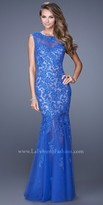 La Femme Floral Mermaid Evening Dress