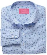 Charles Tyrwhitt Women's semi-fitted cotton floral print sky and blue shirt