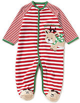 Little Me Baby Boys Newborn-9 Months My First Christmas Reindeer-Applique Striped Footed Coverall