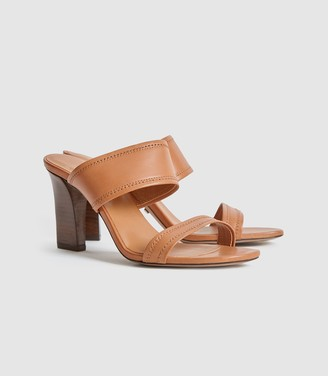 Reiss Freya - Leather High Heeled Mules in Tan