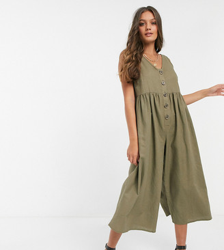 ASOS DESIGN petite button front smock jumpsuit in khaki