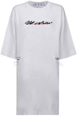 Off-White Logo Drawstring Waist T-Shirt Dress