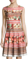 Gabby Skye Floral-Print Scuba Knit Fit & Flare Dress