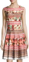 Gabby Skye Floral-Print Scuba Knit Fit & Flare Dress