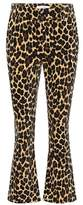 Frame Cheetah velveteen flared trousers